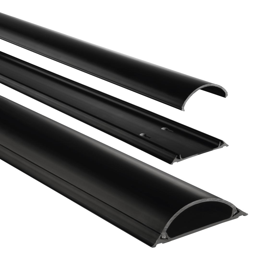 00083159 hama pvc-kabelkanal, halbrund, 100/7/2,1 cm, schwarz | hama