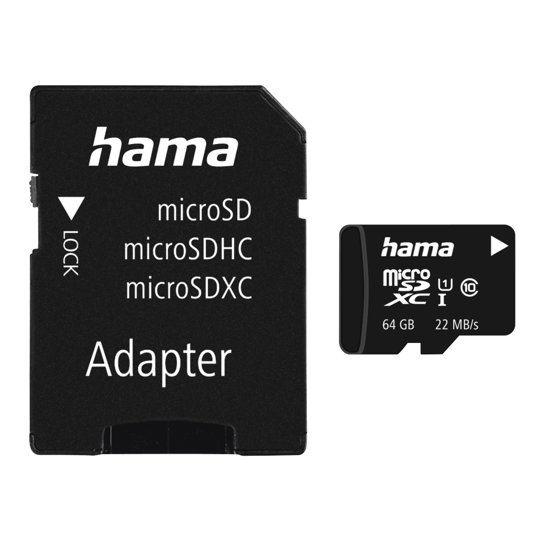 abx Druckfähige Abbildung - Hama, microSDXC 64GB Class 10 UHS-I 22MB/s + Adapter/Mobile