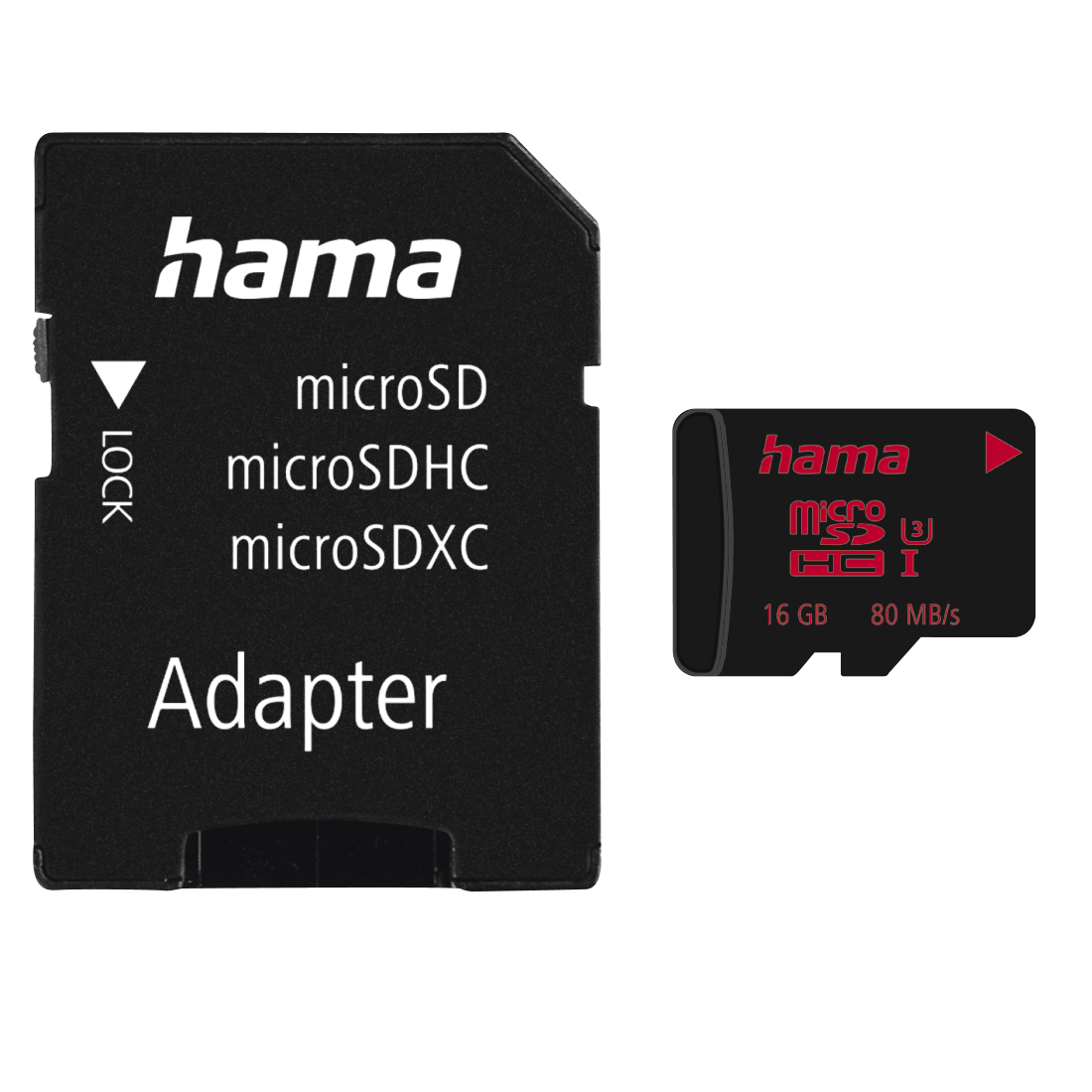 abx High-Res Image - Hama, Carte microSDHC 16GB UHS Speed Class 3 UHS-I 80MB/s +adapat./mobile