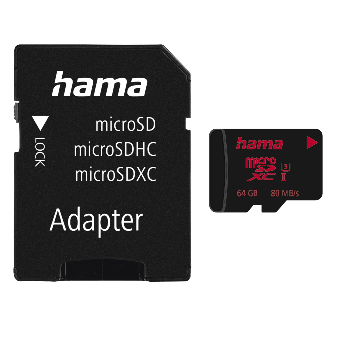 abx Druckfähige Abbildung - Hama, microSDXC 64GB UHS Speed Class 3 UHS-I 80MB/s + Adapter/Mobile