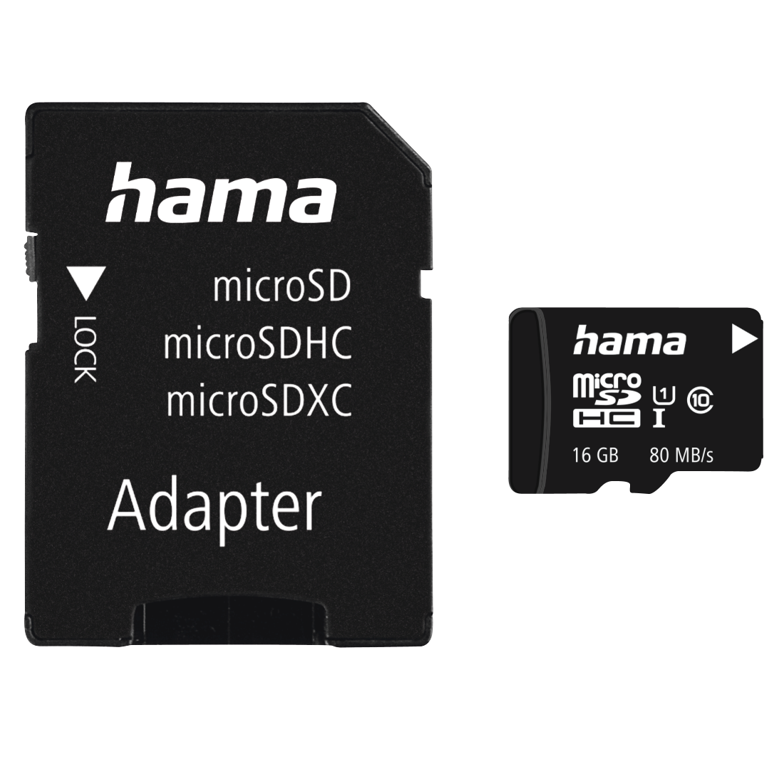 abx Druckfähige Abbildung - Hama, microSDHC 16GB Class 10 UHS-I 80MB/s + Adapter/Mobile