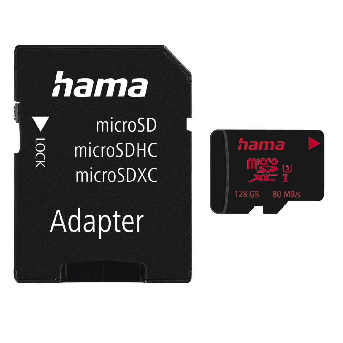 abx Druckfähige Abbildung - Hama, microSDXC 128GB UHS Speed Class 3 UHS-I 80MB/s + Adapter/Mobile