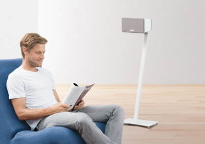 Wall brackets, stands, etc., for wireless audio systems